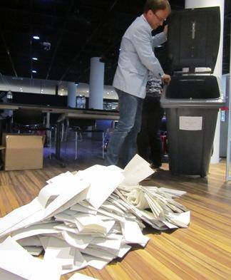 photo of emptying a ballot box